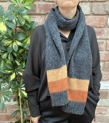 dark grey and orange lambswool scarf,ollie and fred,sustainable fashion gift ideas,