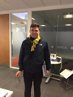 Andy Burnham weaing an ollie and fred lomax scarf