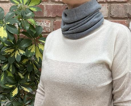 grey merino wool neck warmer, grey merino wool neck gaiter, grey merino wool snood, grey face covering, ollie and fred