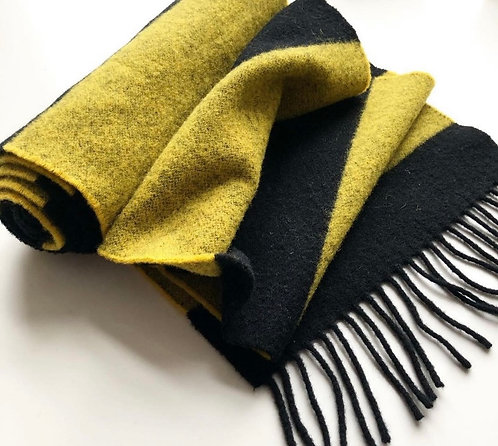 ollie and fred,lambswool scarf for men,yellow and black scarf,luxury scarf,gift ideas for men,manchester scarf