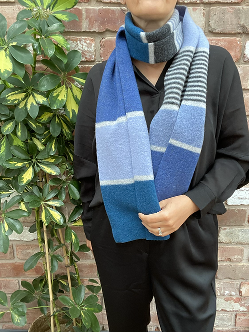 blue block pattern scarf, lambswool scarf, ollie and fred, gifts for walkers, gifts for ramblers, gifts for hikers