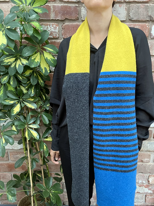mustard yellow grey and blue scarf, sustainable fashion gifts, ethical Christmas gift ideas,ollie and fred, lambswool scarf