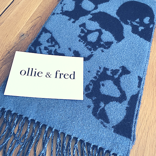 Blue skull scarf,skull scarf,ollie and fred,skull gift ideas,luxury skull gift ideas,winter scarf with skulls,gift ideas