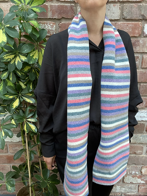 soft pastel rainbow style scarf, bright and vibrant winter scarf, ollie and fred, rainbow gift ideas