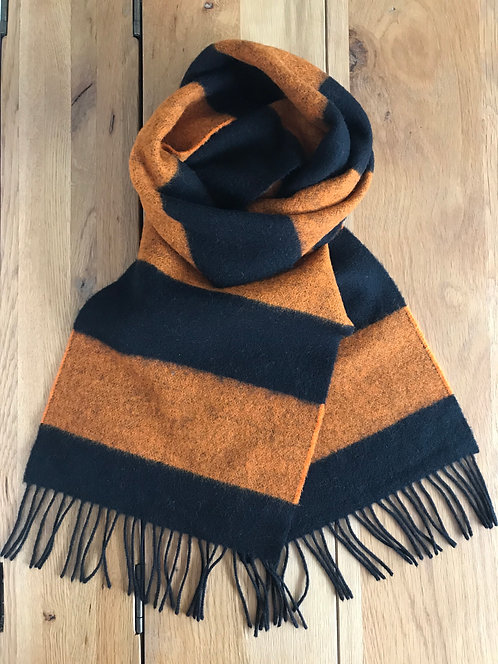 Black and orange striped scarf,ollie and fred,dundee utd gift ideas,gift ideas for husband,gift ideas for men,father's day
