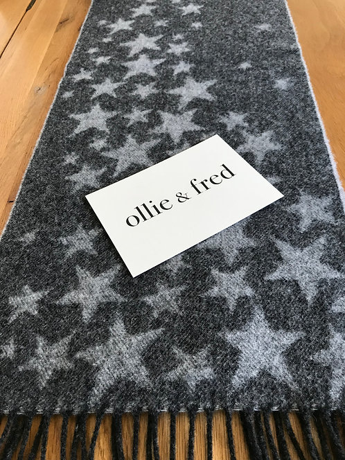 ollie and fred,winter scarf with stars,winter scarf with dark grey stars,lambswool scarf with stars,mother's day gift ideas