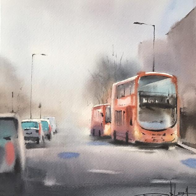 Double-Decker in the Fog of London, UK