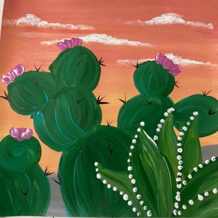 Desert Cactus Acrylic on Canvas
