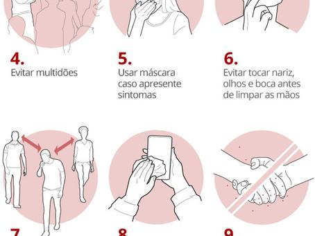 Cuidados na prevenção ao Coronavírus.