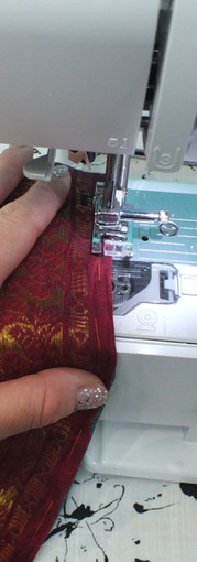 assemblage du voilage sari