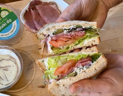 tzatziki pastrami sandwich