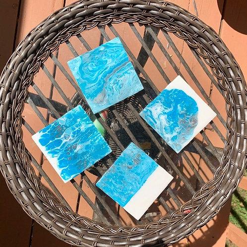 Blue Pour-garita coaster set