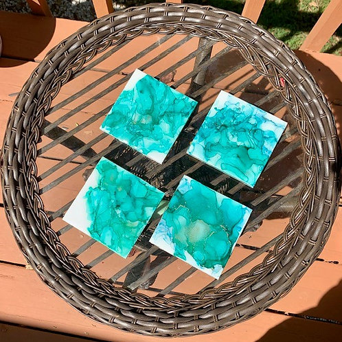 Teal-quila Sunrise coaster set