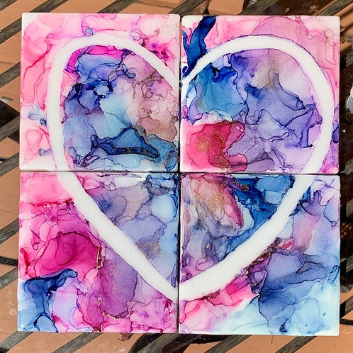 Heart Puzzle Resin Coasters