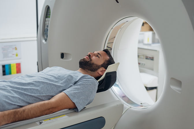 Patient lying on the TC scanner bed wait
