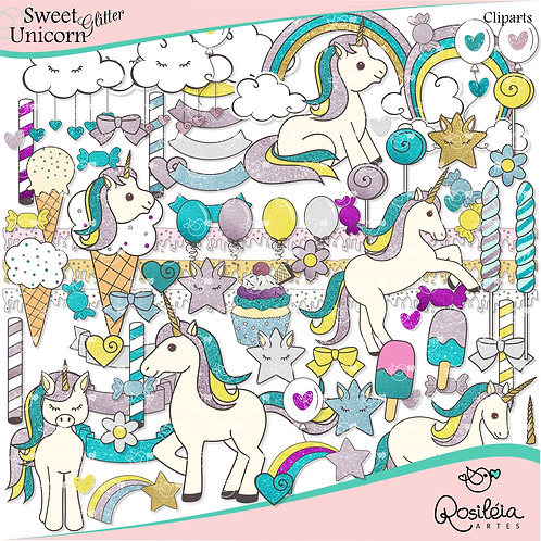 Cliparts Sweet Unicorn Glitter_Unicórnios