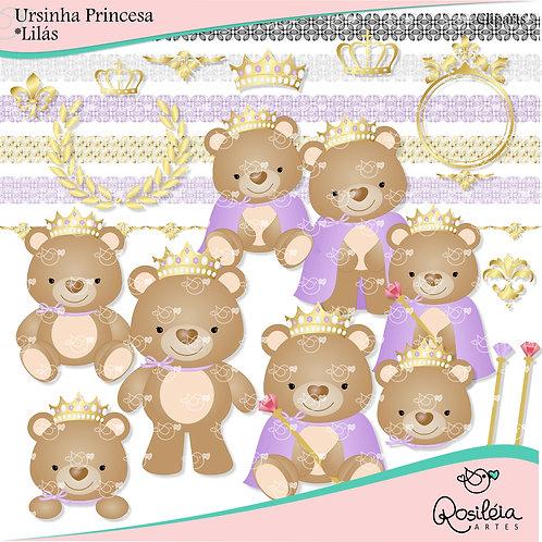 Cliparts Ursinha Princesa_Lilás