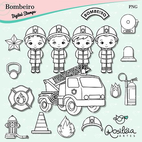 Digital Stamp Profissões Bombeiro
