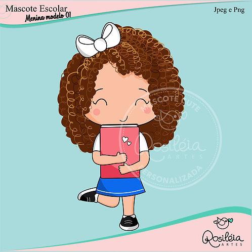 Mascote Cute Escolar Menina Modelo 01