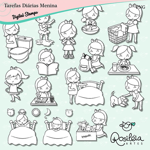 Digital Stamp Tarefas Diárias Menina