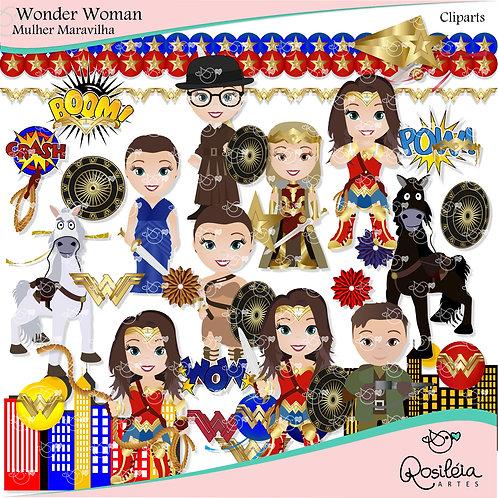 Kit Digital Wonder Woman Mulher Maravilha