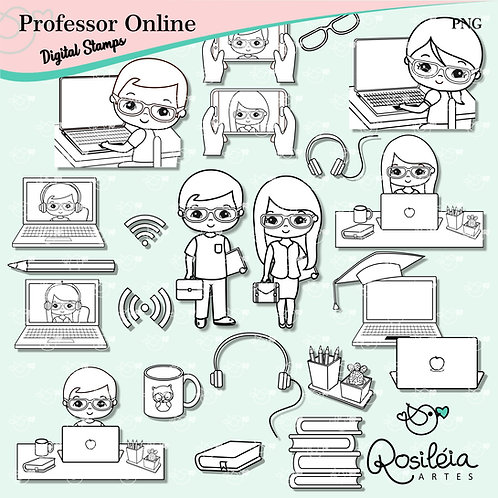Digital Stamp Professor Online Dia dos Professores
