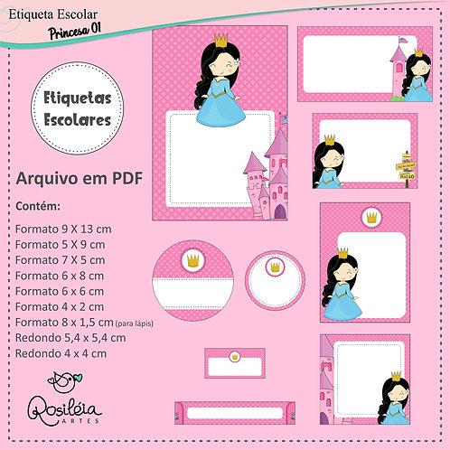 Etiquetas Escolares Princesa 01 - PDF