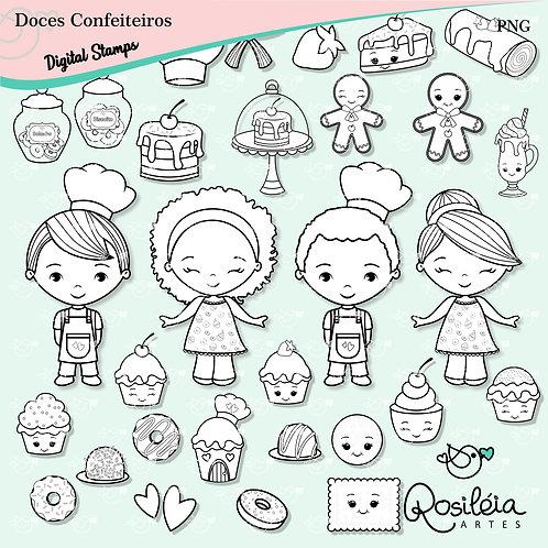 Digital Stamp Doces Confeiteiros Confeitaria