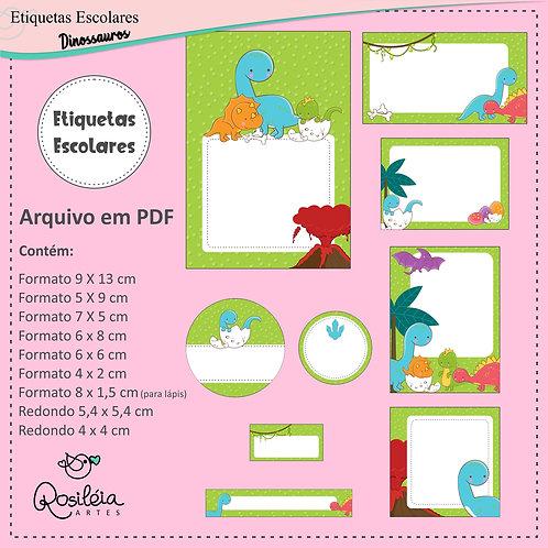 Etiquetas Escolares Dinossauros - PDF