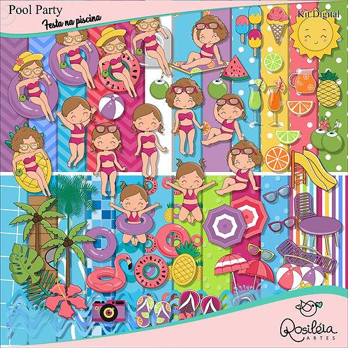 Kit Digital Pool Party - Festa na Piscina Menina