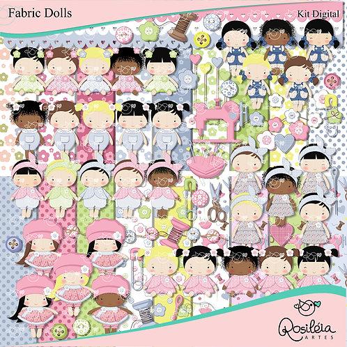 Kit Digital Fabric Dolls - Bonecas de Pano