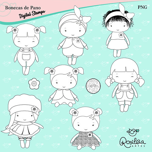 Digital Stamp Fabric Dolls_Bonecas de Pano _Colorir