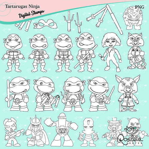 Digital Stamp Tartarugas Ninja