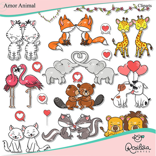 Kit Digital Amor Animal - Dia dos Namorados