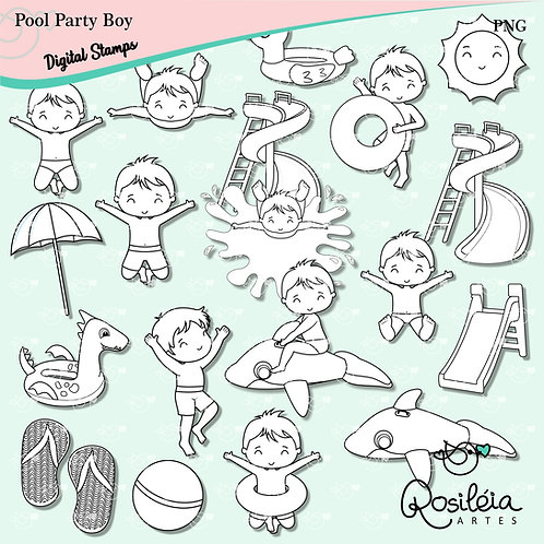 Digital Stamp Pool Party Boy