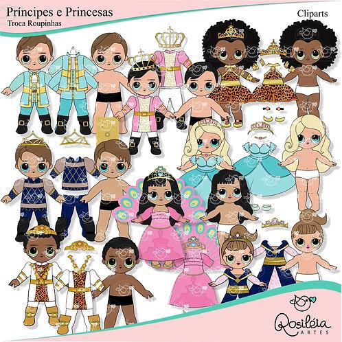 Cliparts Príncipes e Princesas Troca Roupinhas
