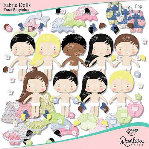 Fabric Dolls - Bonecas de Pano Troca Roupinhas