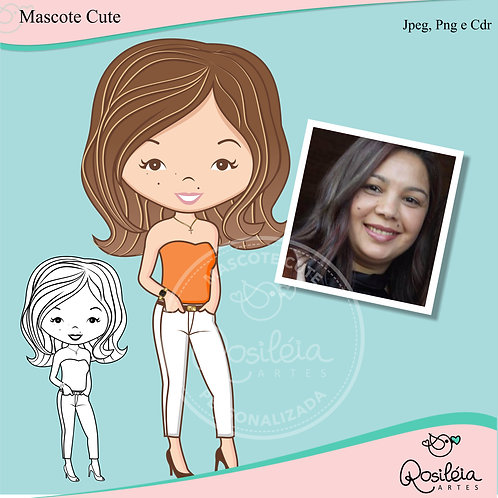 Mascote Cute Personalizada + Digital Stamp