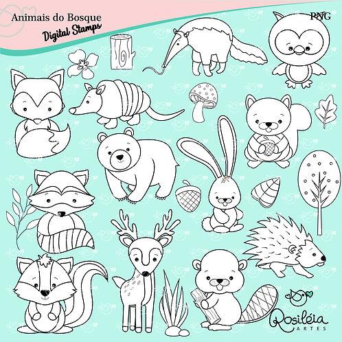Digital Stamp Animais do Bosque_Colorir