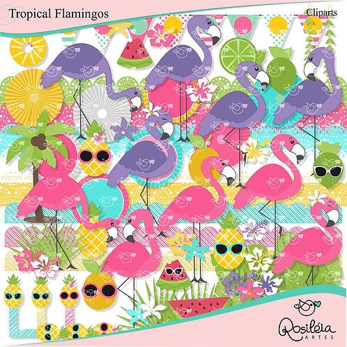 Kit Digital Tropical Flamingos