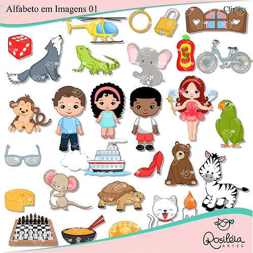Kit de Cliparts Alfabeto em Imagem 01
