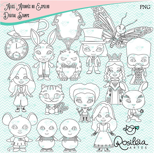Digital Stamp Alice Através do Espelho_colorir