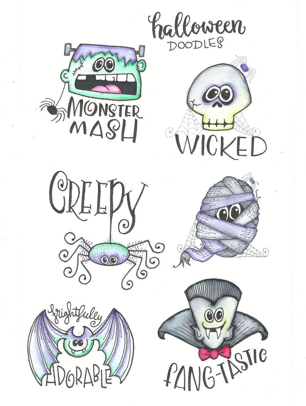 More halloween doodles @mariebrowning #halloween #drawing