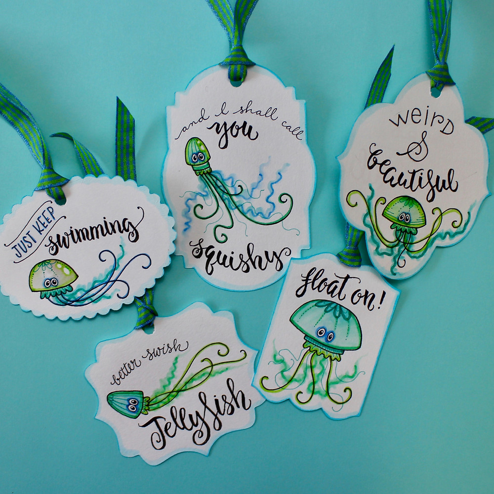 @mariebcreates doodles made into gift tags #mariebrowning #gifttags