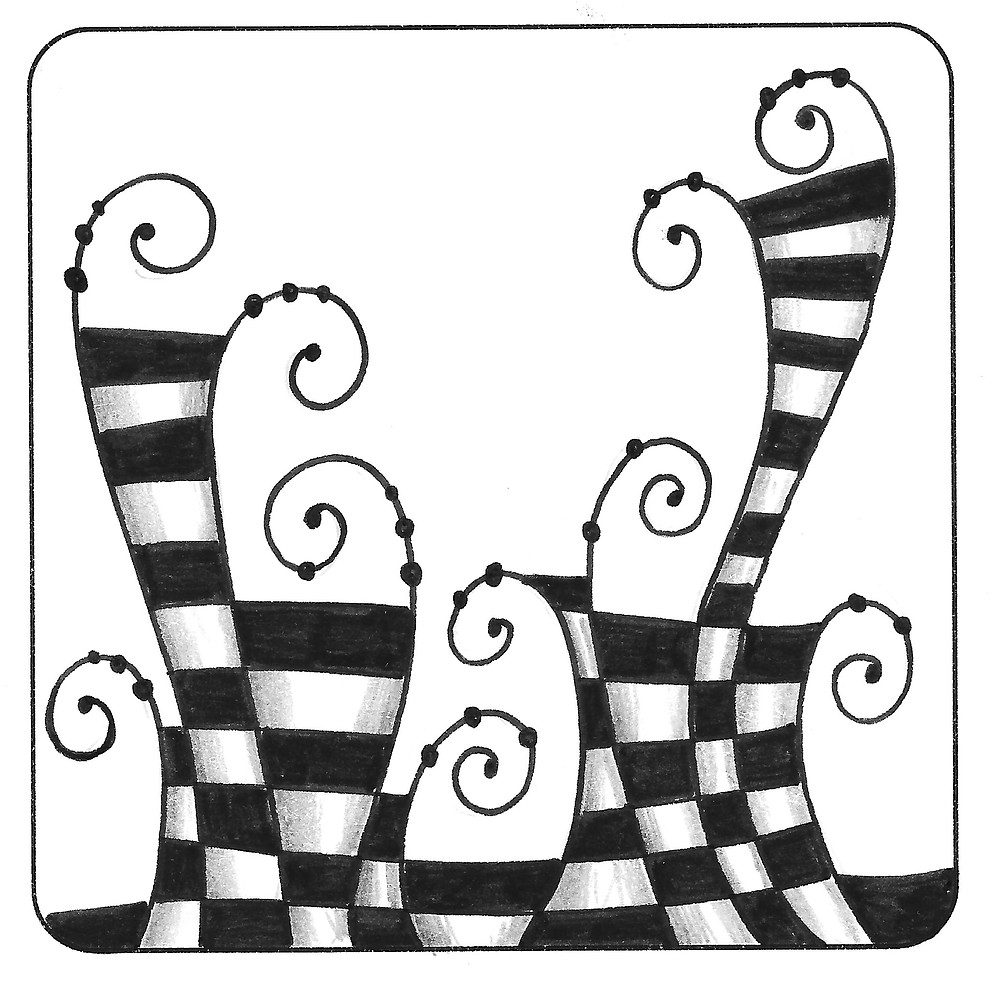 @mariebcreates #Zentangle Jester, a tangleation of Knightsbridge, created by Marie Browning