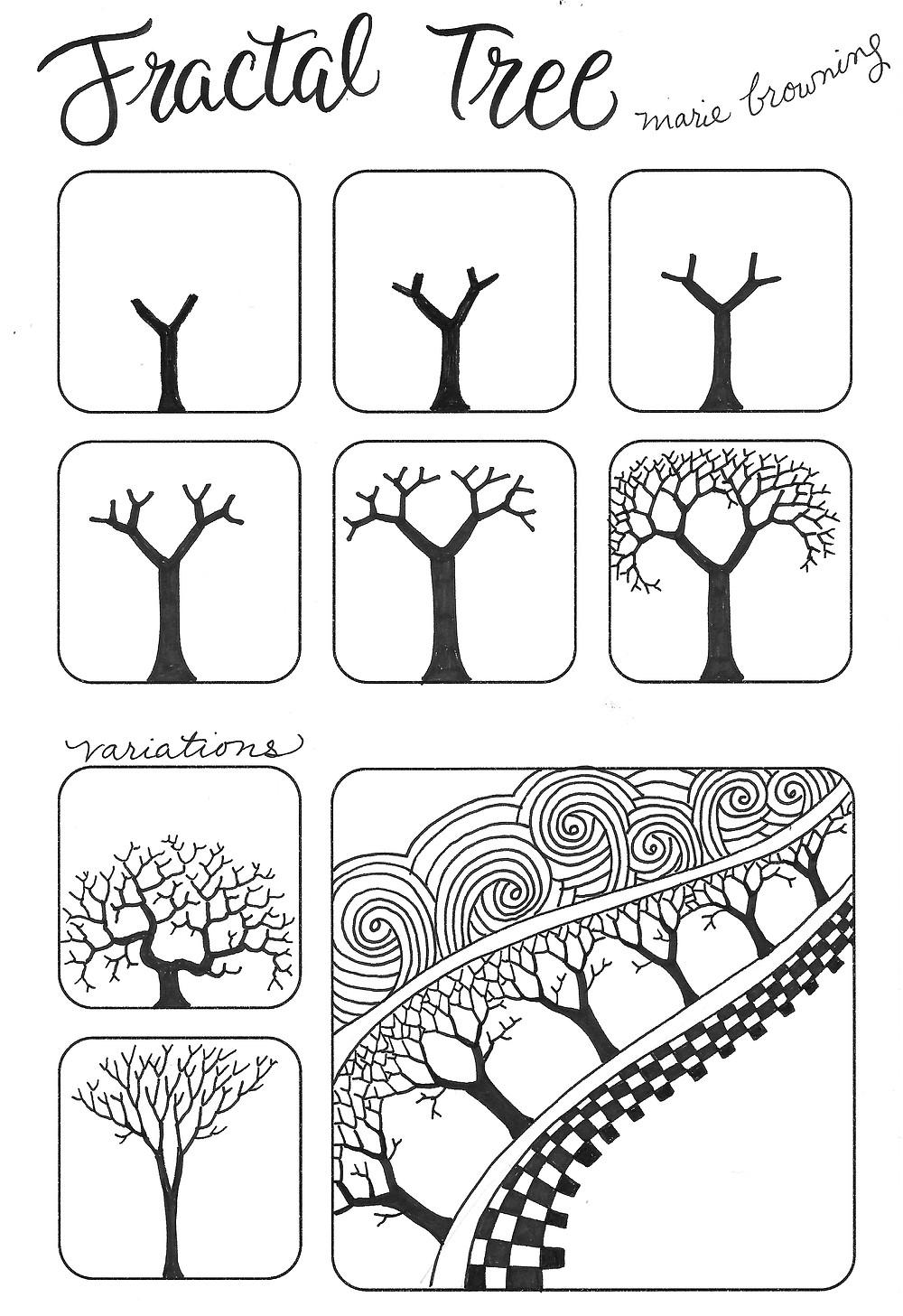 @mariebcreates #tombow #zentangleart fractal tree zentangle drawing