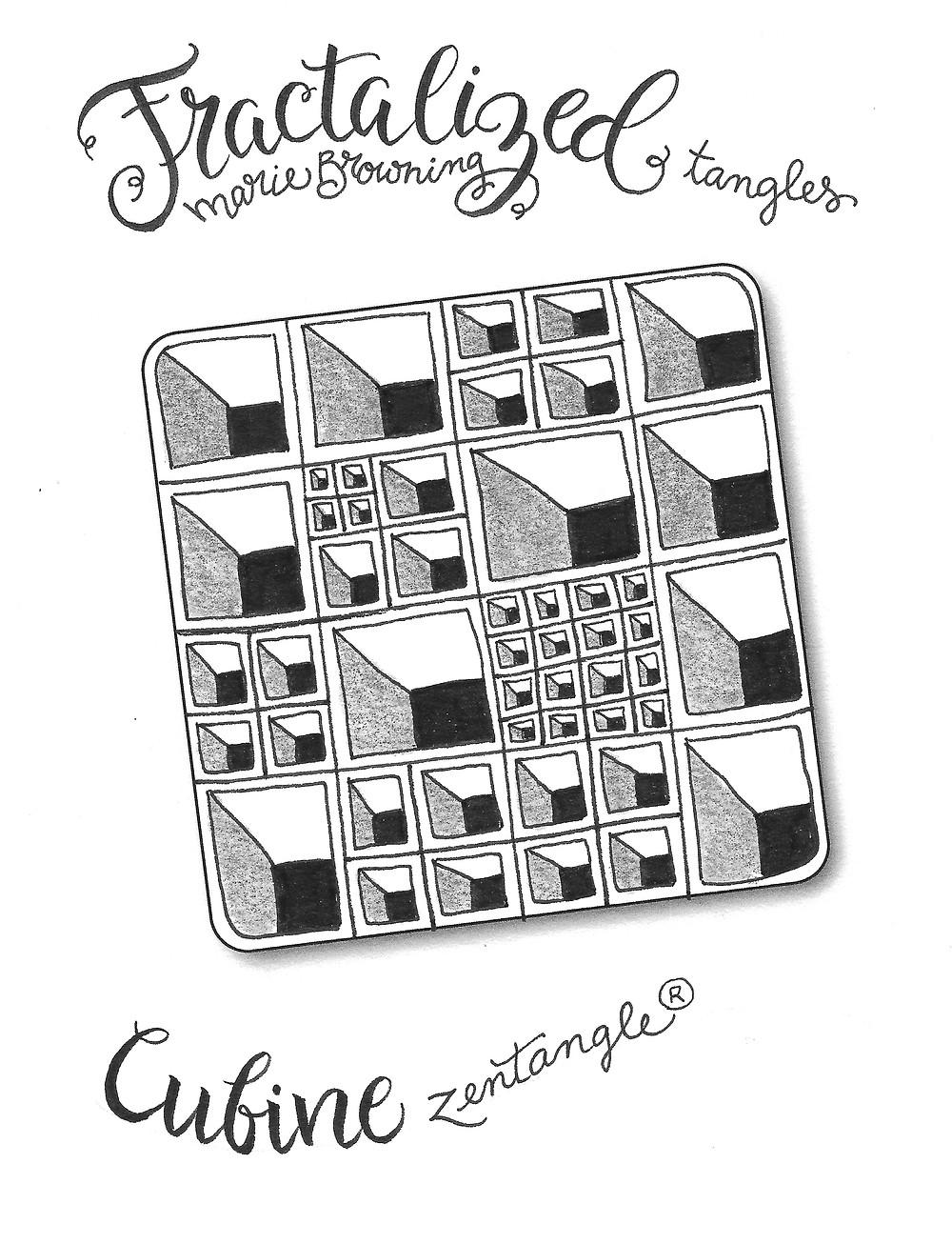 @mariebcreates #tombow #zenart #fractalart  drawing of Cubine Zentangle