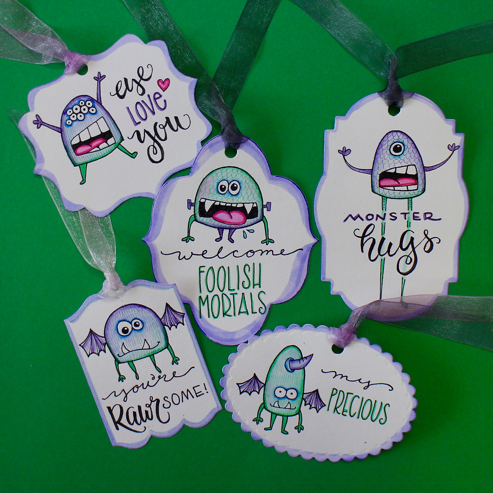 @mariebcreates #gifttags #crafter monster tags