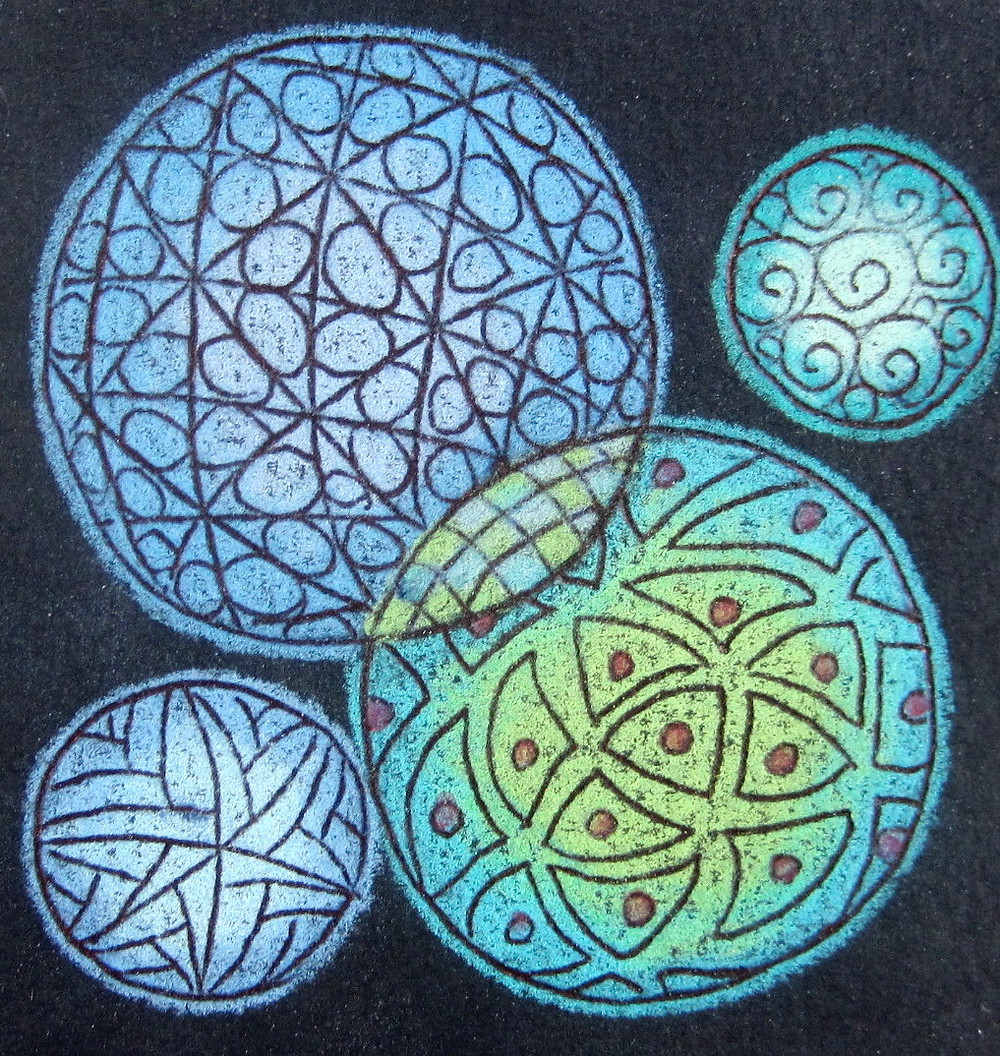 @mariebcreates #Tombow #Zentangleart sample of circle zentangles