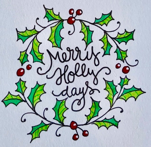 How to draw an easy Holly Wreath Doodle